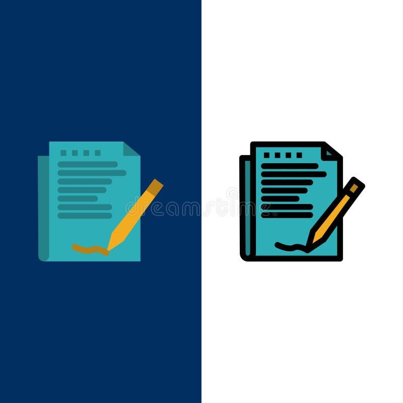 Zgoda, raport, forma, układ, Papierowe ikony Mieszkanie i linia Wypełniający ikony Ustalony Wektorowy Błękitny tło ilustracja wektor