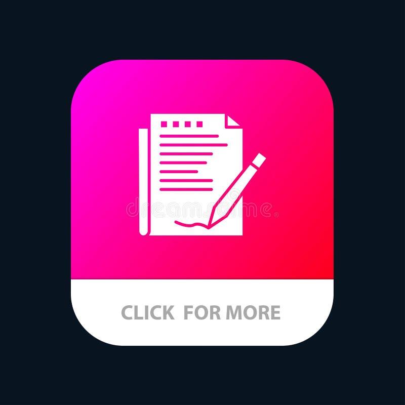 Zgoda, raport, forma, układ, Papierowy Mobilny App guzik Android i IOS glifu wersja ilustracja wektor
