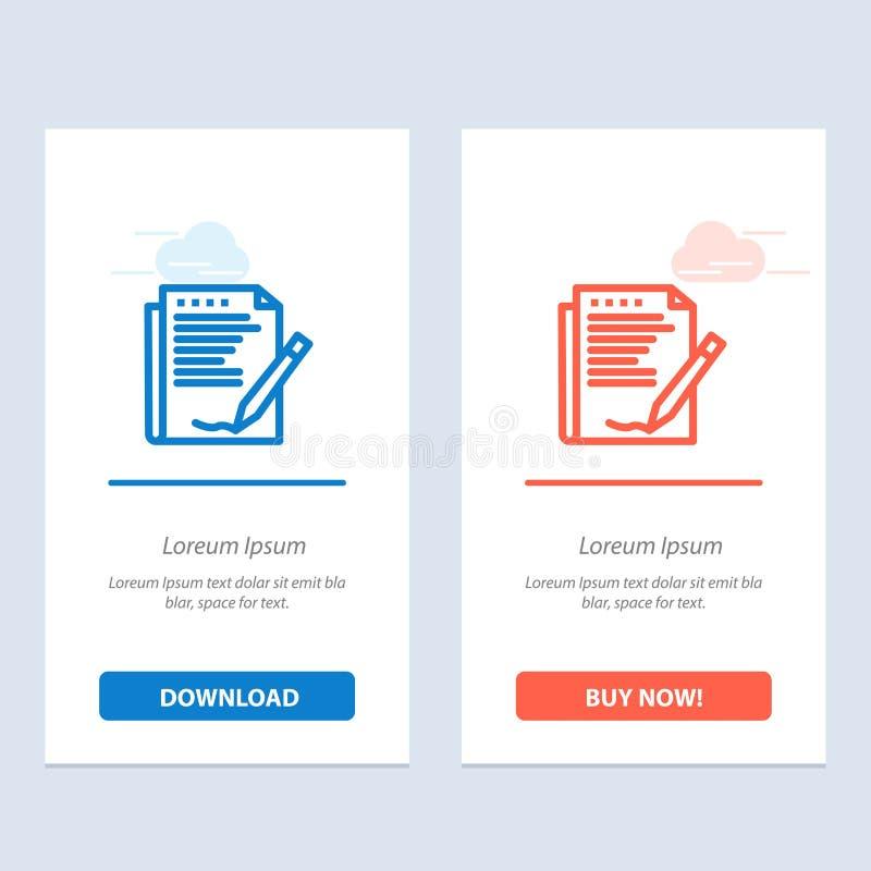 Zgoda, raport, forma, układ, Papierowy sieci Widget karty szablon, Błękitnej, Czerwonej i Teraz ściągania i zakupu ilustracja wektor