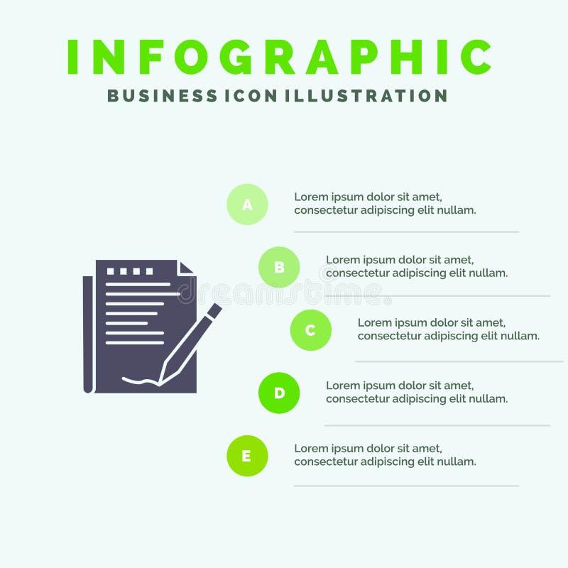 Zgoda, raport, forma, układ, Papierowy Stały ikony Infographics 5 kroków prezentacji tło ilustracji