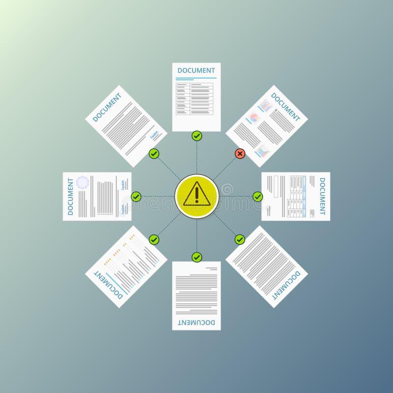 Zgodności pojęcie, dokumentu statusu ostrożność, dokumentacja kroki, polisy przepisowe ilustracja wektor
