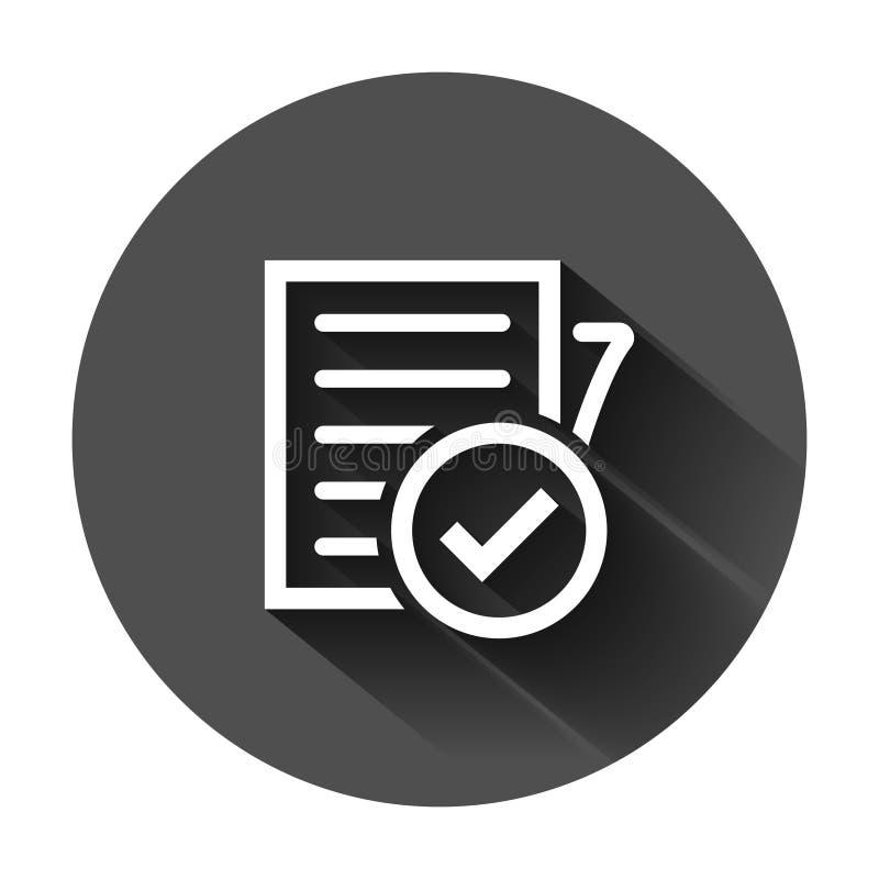 Zgodno?? dokumentu ikona w mieszkanie stylu Zatwierdzona proces wektorowa ilustracja na czarnym round tle z d?ugim cieniem CheckM ilustracja wektor