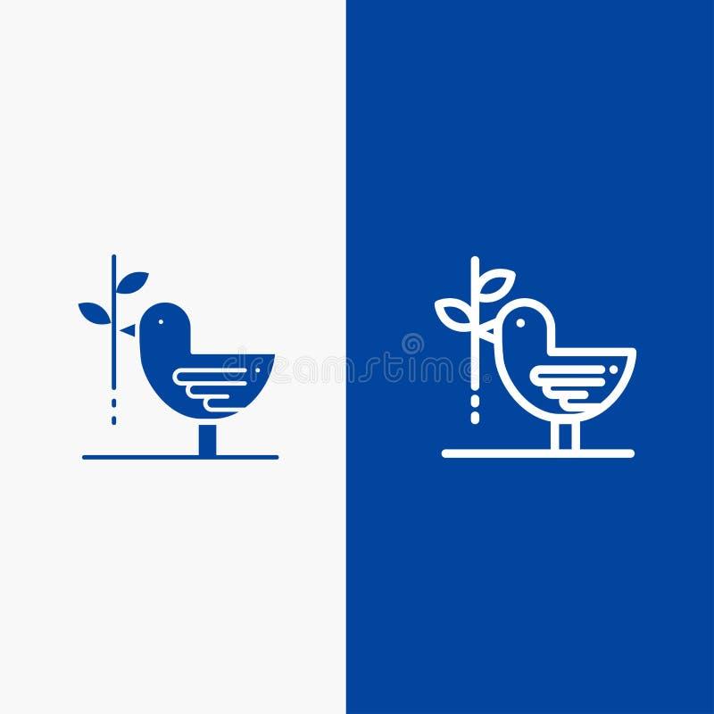 Zgody, gołąbki, przyjaźni, harmonii, pacyfizm linii i glifu Stałej ikony sztandaru glifu, Błękitnej ikony błękita Stały sztandar ilustracji