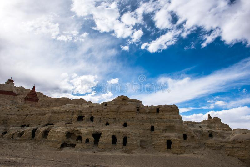 Zhada Soil Forest and Ruins of Guge Kingdom. The beautiful scenery can be seen everywhere when we travelling in Ngari Prefecture of Tibet autonomous region of stock images