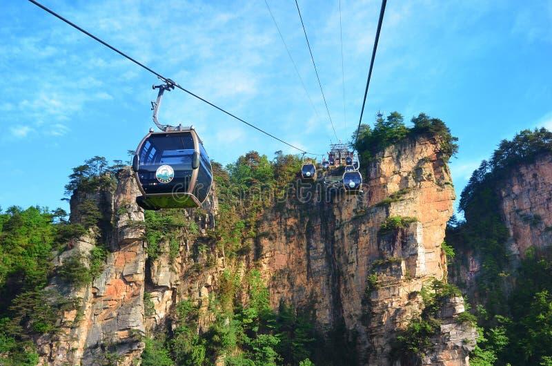 Zhangjiajie, China - May 12, 2017: Cable car in Wulingyuan in Zhangjiajie National Park, China. Zhangjiajie, China - May 12, 2017: Cable car in Wulingyuan in royalty free stock photography