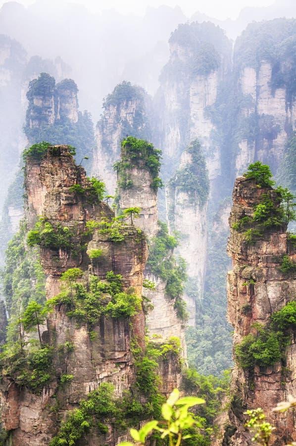 Zhangjiajie forest park Hunan province China blurred royalty free stock photo