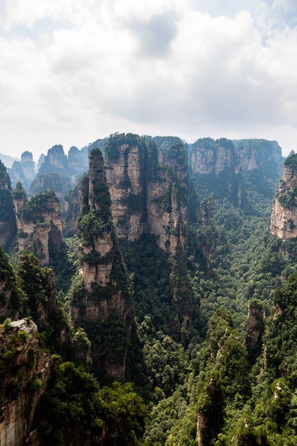 Zhangjiajie, Hunan, China: view from Mi Hun Platform in Yuanjiajie area in the Wulingyuan National Park. Wulingyuan was the inspiration for the movie Avatar stock photography