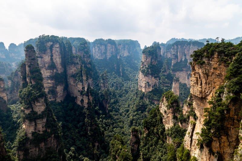 Zhangjiajie, Hunan, China: view from Mi Hun Platform in Yuanjiajie area in the Wulingyuan National Park. Wulingyuan was the inspiration for the movie Avatar stock image