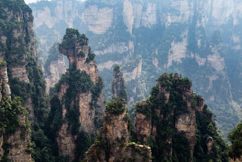 Zhangjiajie, Hunan, China: view from Mi Hun Platform in Yuanjiajie area in the Wulingyuan National Park. Wulingyuan was the inspiration for the movie Avatar royalty free stock photos