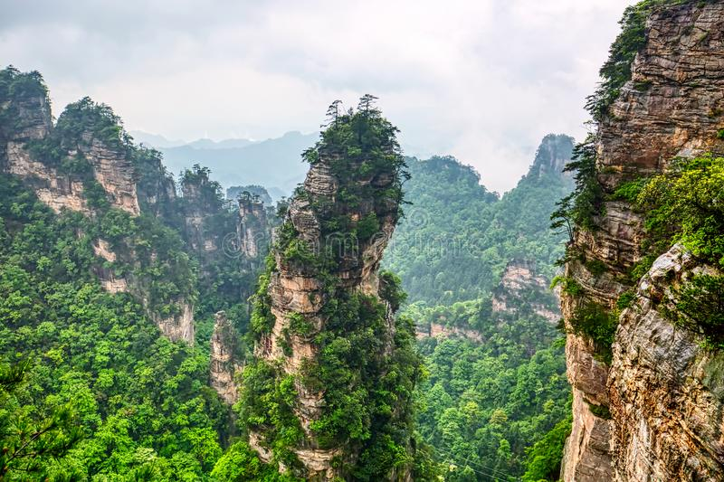 Zhangjiajie nationaal park Beroemde toeristische attractie in Wulingyuan, Hunan, China Verbazend natuurlijk landschap met steenpi stock afbeelding