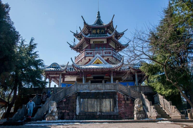 Zhangjiajie National Forest Park, Huangshizhai, Hunan, China. Six Chi is located in Zhangjiajie Forest Park Huangshizhai top of the artificial building. Due to stock images