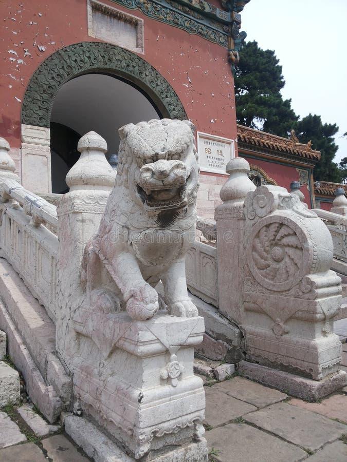 Zhaoling mausoleum av de Qing Dynasti-sten lejonen fotografering för bildbyråer