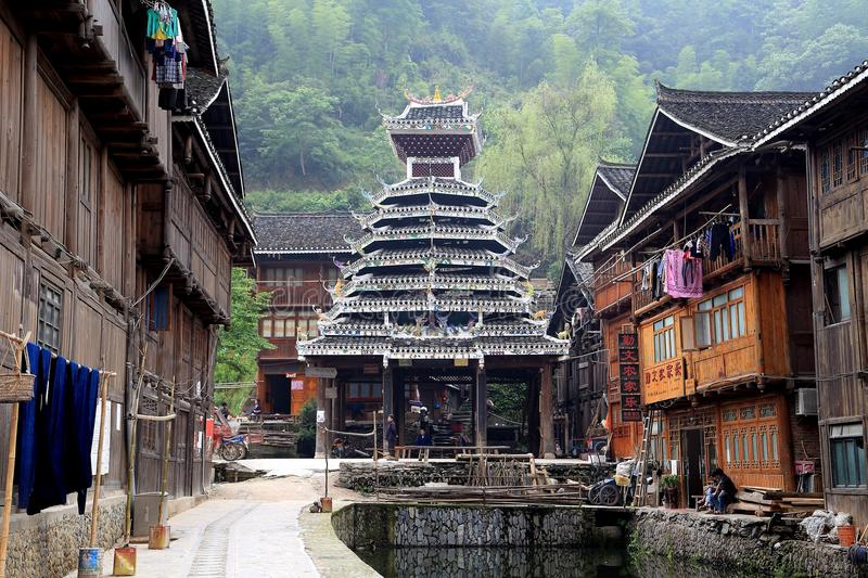 Zhaoxing - a gorgeous village in guizhou, china. Is packed whit traditional wooden structures, several wind-and-rain bridges and remarkable drum towers Photo stock photo