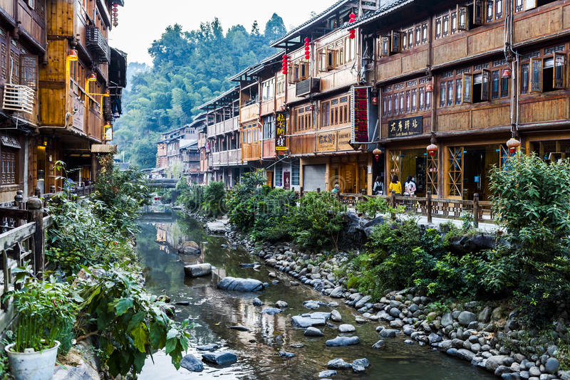 The village of the Guizhou. Zhaoxing liping county is located in southeast guizhou miao autonomous county of guizhou province, the nation`s largest village one stock photo