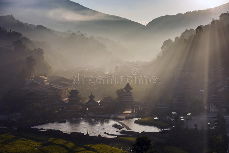 The village of the Guizhou. Zhaoxing liping county is located in southeast guizhou miao autonomous county of guizhou province, the nation`s largest village one royalty free stock photos
