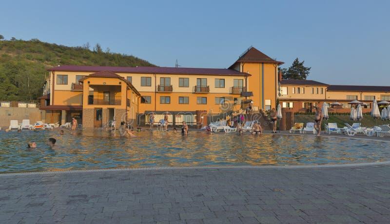 Zhayvoronok thermal outdoor pool in Berehove, Ukraine stock photography