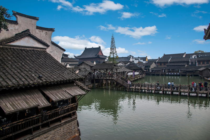 Zhejiang Jiaxing Wuzhen Xishan. Ferry to enter the West Gate. 'Harmony' to describe the Xishan is the most accurate. Xishan by the 12 islands, more than 70 small royalty free stock image
