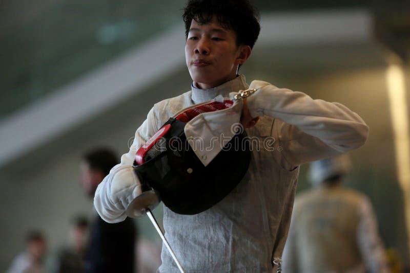 Sword FIE Fencing Grand Prix 2020 Men - Inalpi Trophy royalty free stock photos