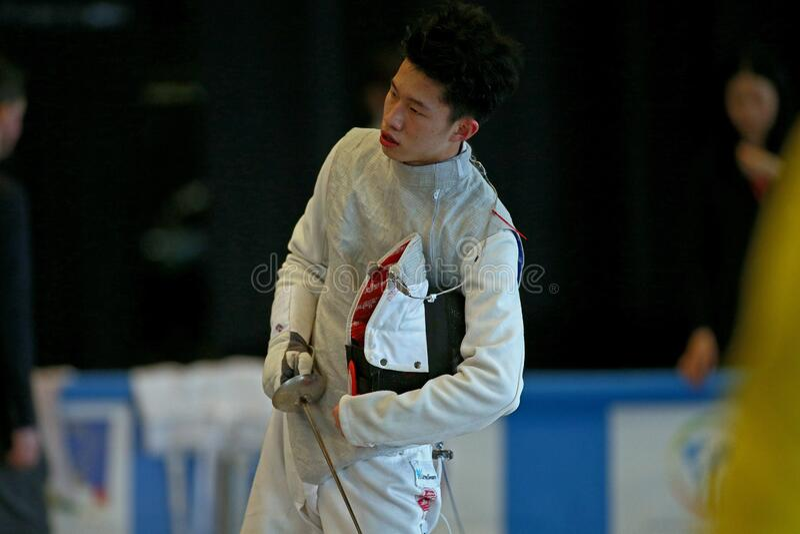 Sword FIE Fencing Grand Prix 2020 Men - Inalpi Trophy royalty free stock images
