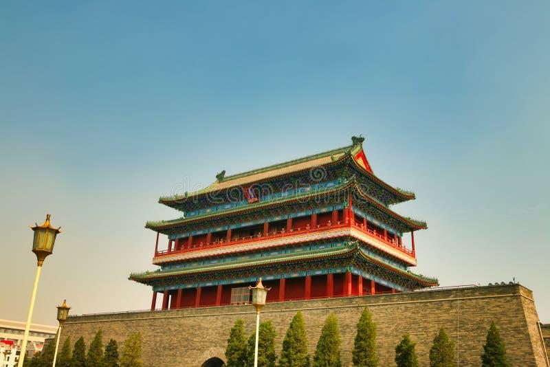 Zhengyangmen Gatehouse in Tiananmen-Vierkant Peking stock afbeelding