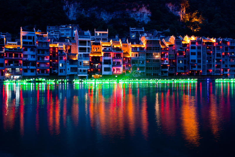 Zhenyuan Ancient Town, China. Located on eastern part of Guizhou Province, Zhenyuan has long been an ancient town of the Miao people royalty free stock images
