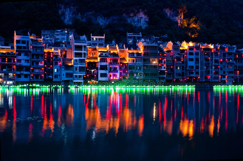 Zhenyuan Ancient Town, China. Located on eastern part of Guizhou Province, Zhenyuan has long been an ancient town of the Miao people stock image