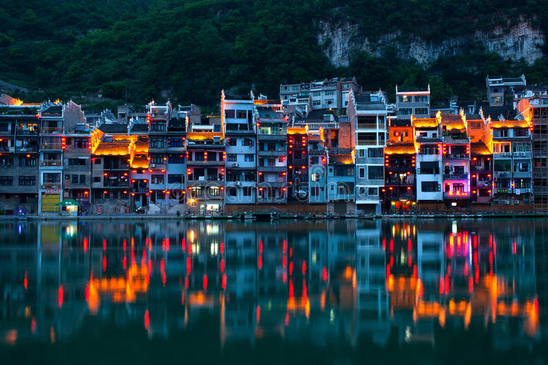 Zhenyuan Ancient Town in China. Zhenyuan Ancient Town at twilight. Located on eastern part of Guizhou Province, Zhenyuan has long been an ancient town of the stock image