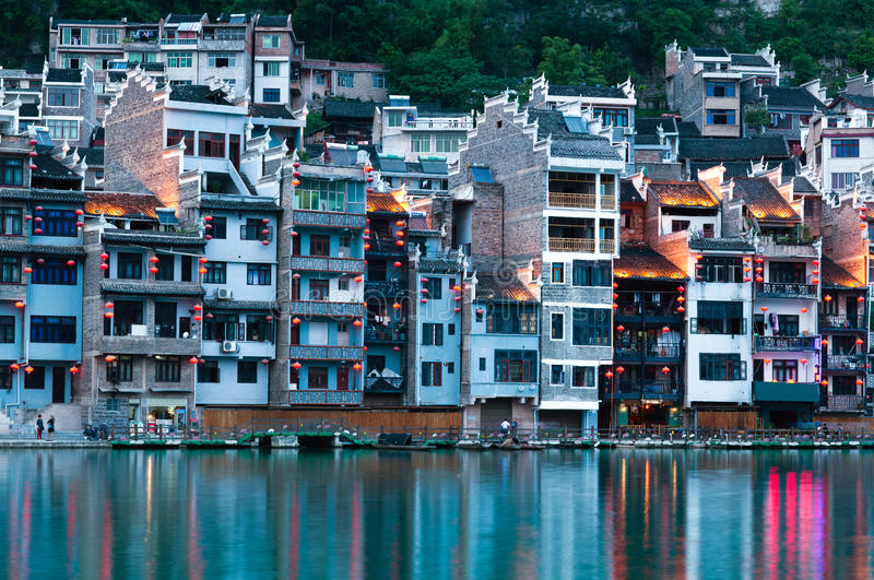 Zhenyuan Ancient Town in Guizhou Province, China. Zhenyuan Ancient Town on Wuyang river in Guizhou Province, China. It is under the administration of the royalty free stock photography