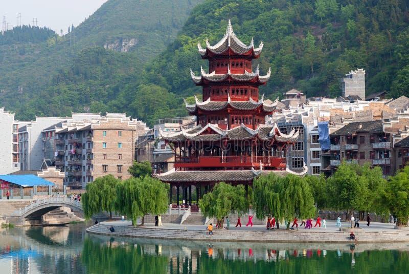 Zhenyuan Ancient Town on Wuyang river in Guizhou Province, China. Beautiful pagoda in Zhenyuan Ancient Town on Wuyang river in Guizhou Province, China. Located stock photography