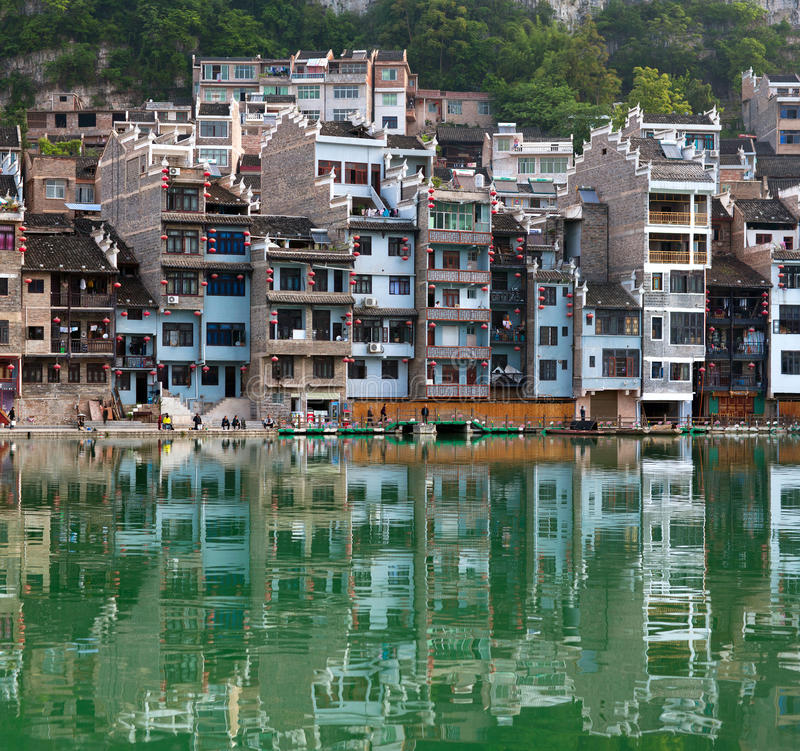 Zhenyuan Ancient Town on Wuyang river in Guizhou Province, China. Panorama of Zhenyuan Ancient Town on Wuyang river in Guizhou Province, China. It is under the royalty free stock photos