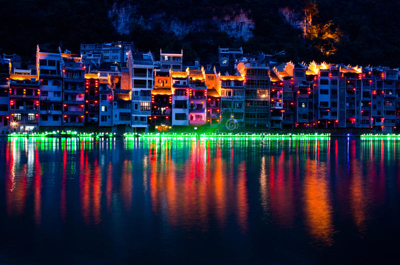 Zhenyuan Ancient Town on Wuyang river in Guizhou Province, China. It is under the administration of the Qiandongnan Miao and Autonomous Prefecture stock photos