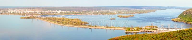 Tolyatti. Zhigulevskaya hydroelectric power station. Zhigulevskaya HPP is a hydroelectric power station on the Volga River in the Samara Region, in the city of royalty free stock photography