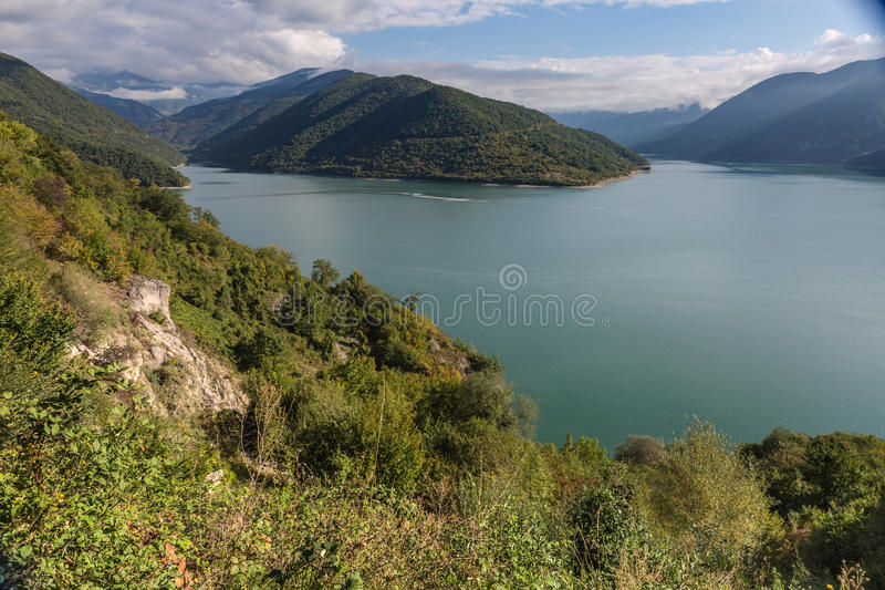 The Zhinvali Reservoir, Georgia, Caucasus. stock image