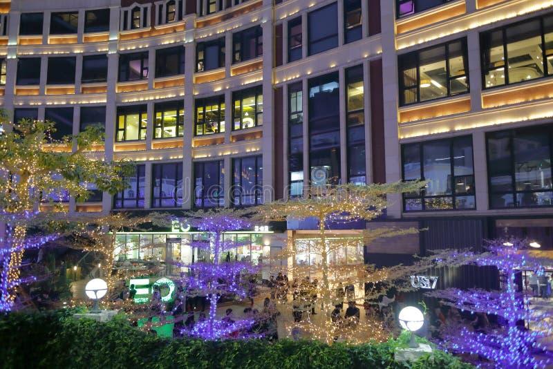 Zhonghuachengaffärsområdet på julaftonen, Adobe rgb royaltyfri fotografi
