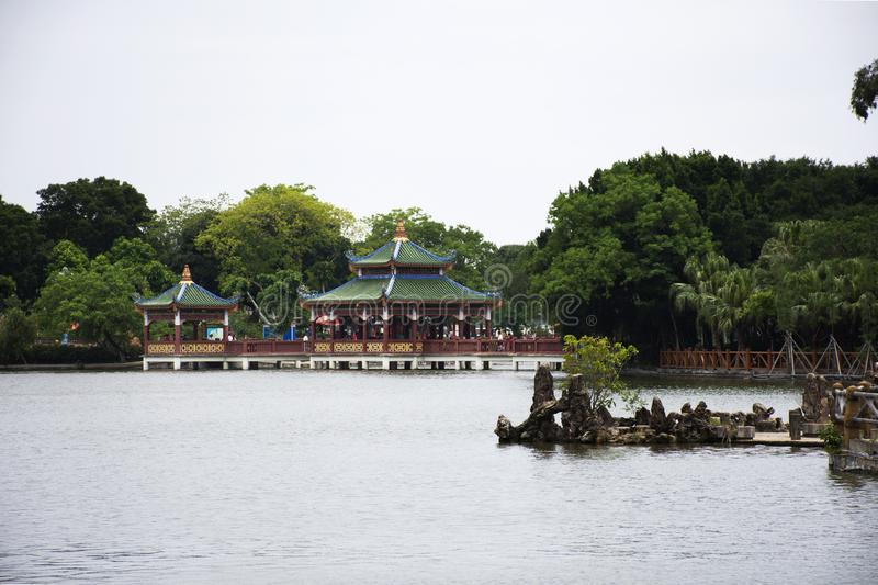Zhongshan public park for chinese people and traveler visit relax at Shantou town or Swatow city in Guangdong, China. View landscape and water pond of garden at stock images