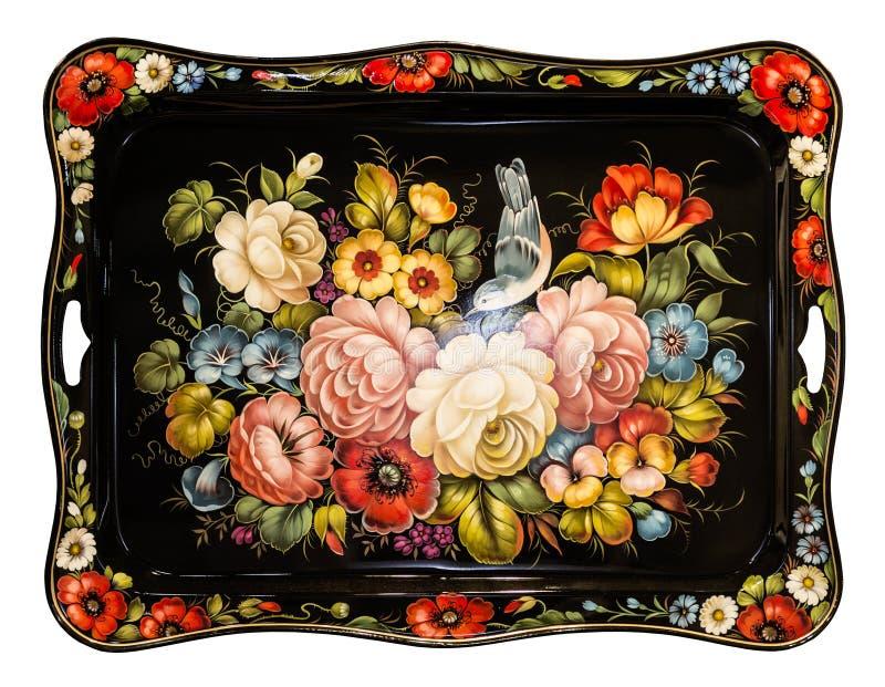 Zhostovo obraz, stary Rosyjski ludowy r?kodzie?o obraz na metal tacach Tradycyjny jaskrawy kolorowy kwiecisty wzór na czarnym bac zdjęcie stock