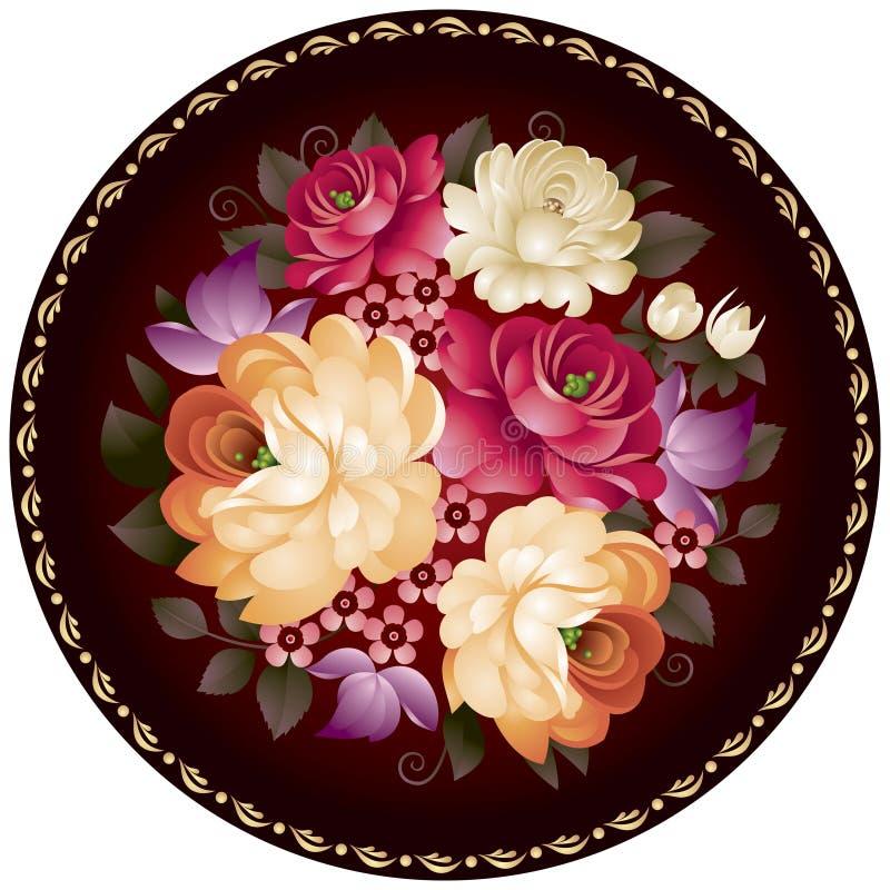 Zhostovo rękodzieła kwiatu Rosyjski ornament w wektorze royalty ilustracja