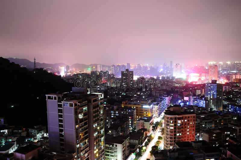Zhouhai City by night stock photos