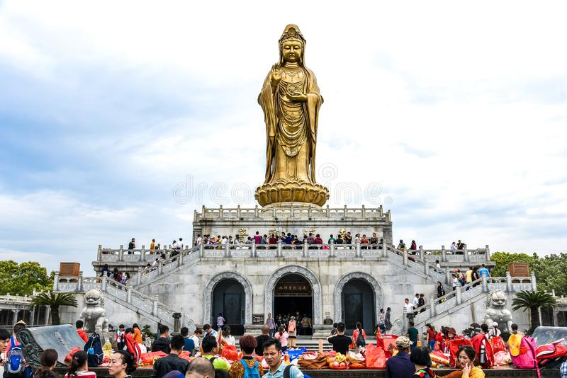 Zhoushan, Zhejiang, China - MAY 06, 2018 : Putuoshan Mountain is the abode of Goddess of mercy Guanyin Buddhist statue and one of. The four sacred Buddhist stock photography