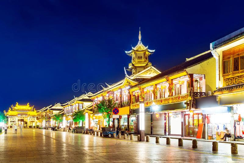 Chinese style buildings. Zhouzhuang, Chinese ethnic style buildings and towers royalty free stock photos