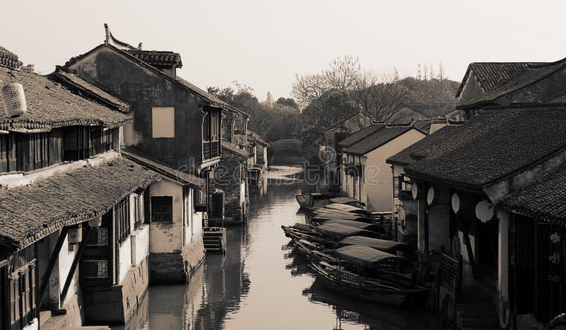 Zhouzhuang Kina forntida vattenstad arkivfoto