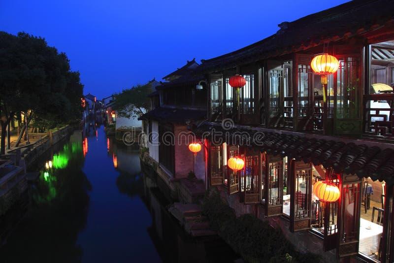 Zhouzhuang-Nachtszene lizenzfreie stockbilder