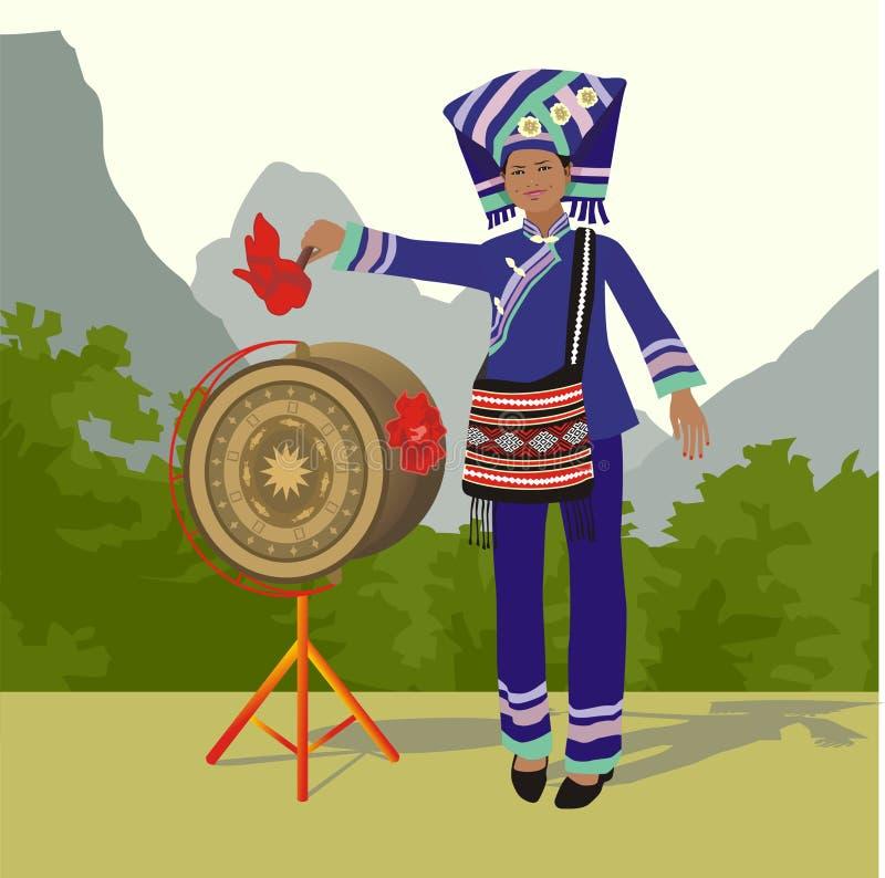 Zhuang dziewczyna i brązu bęben ilustracja wektor
