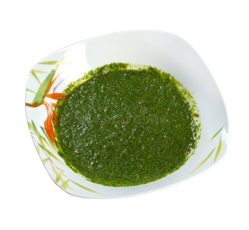 Zhug yemení de la salsa foto de archivo