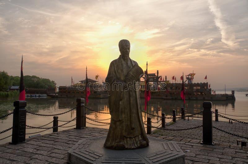 Zhugeliang-Statue lizenzfreie stockbilder