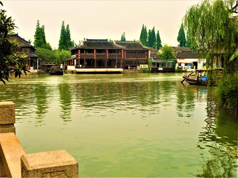 Zhujiajiao water town. Chinese traditional landscape and view, water, red lanterns and rowers royalty free stock photos