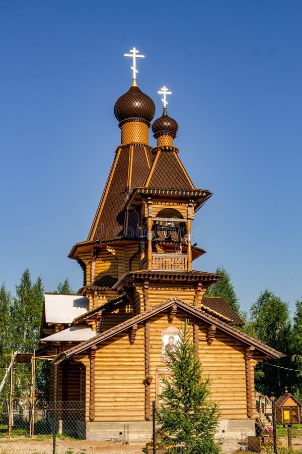 Zhukov, Kaluga region Rosja, Czerwiec, - 2018: Świątynia na cześć Tikhvin ikonę matka bóg fotografia royalty free