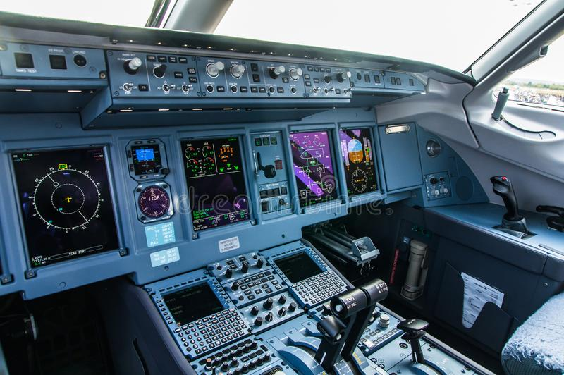 Zhukovskiy, Russia - August 28, 2015: Sukhoi Superjet 100 RA-89034 Yamal Airlines cockpit view.  royalty free stock photos