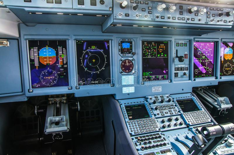 Zhukovskiy, Russia - August 28, 2015: Sukhoi Superjet 100 RA-89034 Yamal Airlines cockpit view.  royalty free stock images