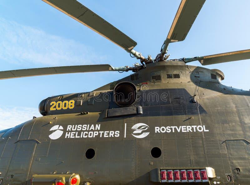 Zhukovsky, Россия - 24-ое июля 2017 Русский тяжелый универсальный вертолет Mi 26 перехода на международной космической выставке M стоковая фотография rf